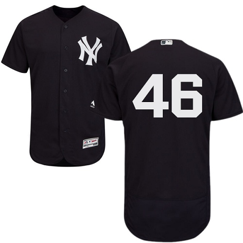 Yankees #46 Andy Pettitte Navy Blue Flexbase Authentic Collection Stitched MLB Jersey