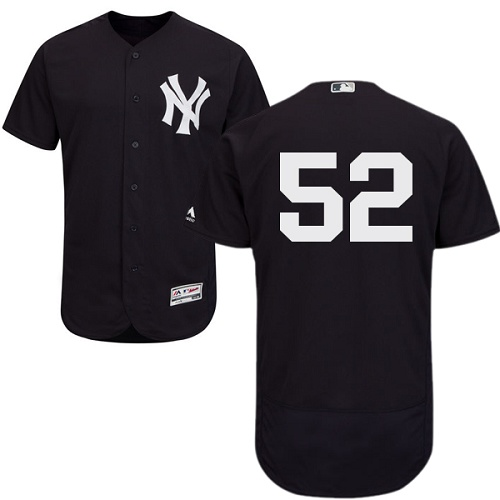 Yankees #52 C.C. Sabathia Navy Blue Flexbase Authentic Collection Stitched MLB Jersey