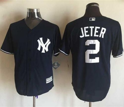 Yankees #2 Derek Jeter Navy Blue New Cool Base Stitched MLB Jersey