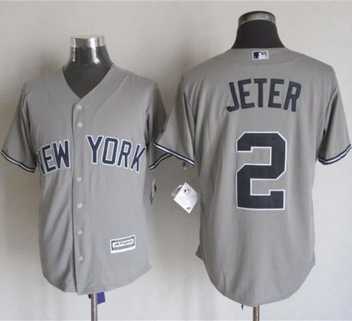 Yankees #2 Derek Jeter Grey New Cool Base Stitched MLB Jersey