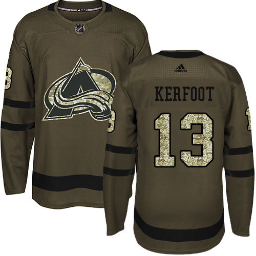 Adidas Avalanche #13 Alexander Kerfoot Green Salute to Service Stitched NHL Jersey