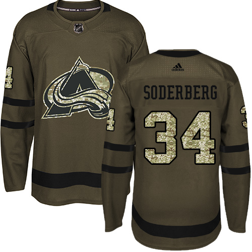 Adidas Avalanche #34 Carl Soderberg Green Salute to Service Stitched NHL Jersey