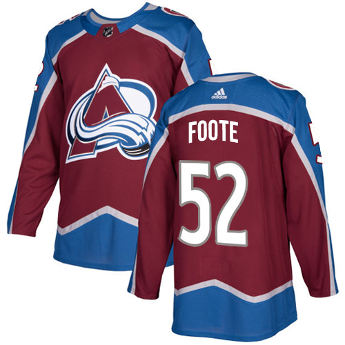 Adidas Avalanche #52 Adam Foote Burgundy Home Authentic Stitched NHL Jersey