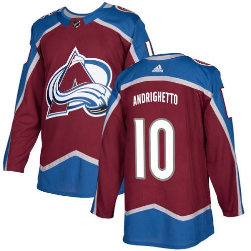 Adidas Avalanche #10 Sven Andrighetto Burgundy Home Authentic Stitched NHL Jersey