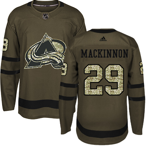 Adidas Avalanche #29 Nathan MacKinnon Green Salute to Service Stitched NHL Jersey