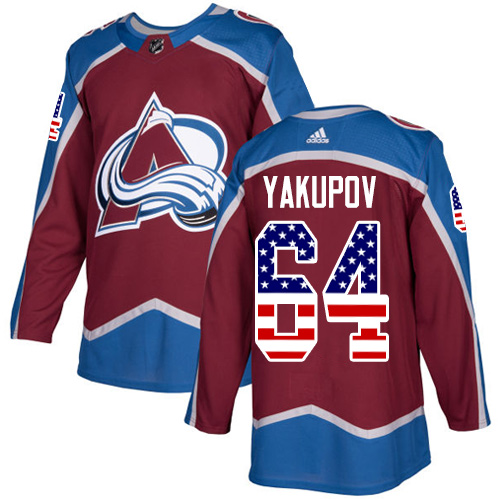 Adidas Avalanche #64 Nail Yakupov Burgundy Home Authentic USA Flag Stitched NHL Jersey