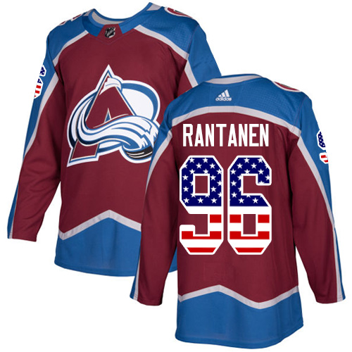 Adidas Avalanche #96 Mikko Rantanen Burgundy Home Authentic USA Flag Stitched NHL Jersey