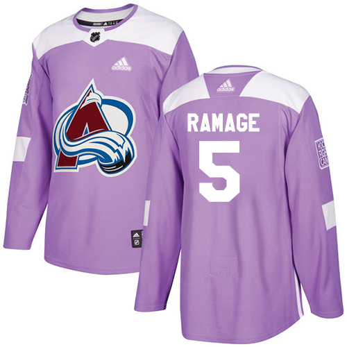 Adidas Avalanche #5 Rob Ramage Purple Authentic Fights Cancer Stitched NHL Jersey