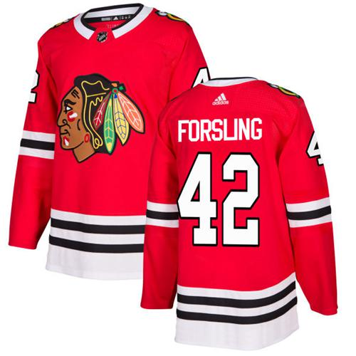 Adidas Blackhawks #42 Gustav Forsling Red Home Authentic Stitched NHL Jersey