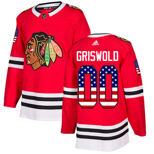 Adidas Blackhawks #00 Clark Griswold Red Home Authentic USA Flag Stitched NHL Jersey