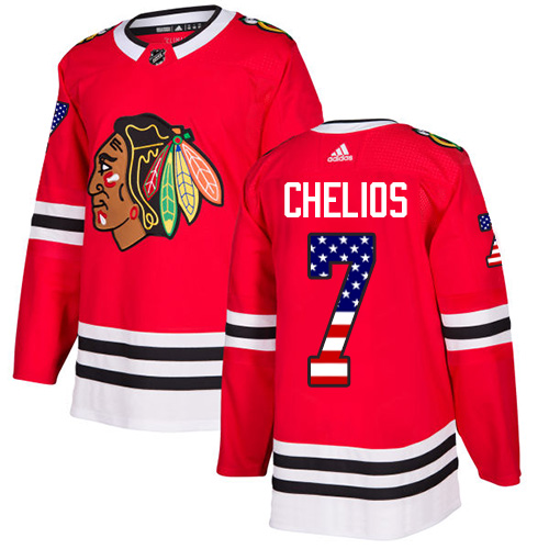 Adidas Blackhawks #7 Chris Chelios Red Home Authentic USA Flag Stitched NHL Jersey
