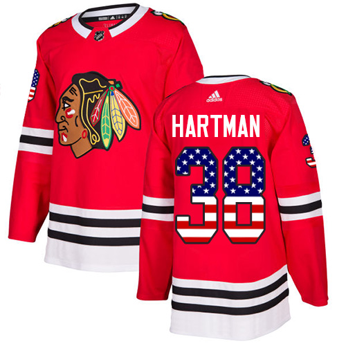 Adidas Blackhawks #38 Ryan Hartman Red Home Authentic USA Flag Stitched NHL Jersey