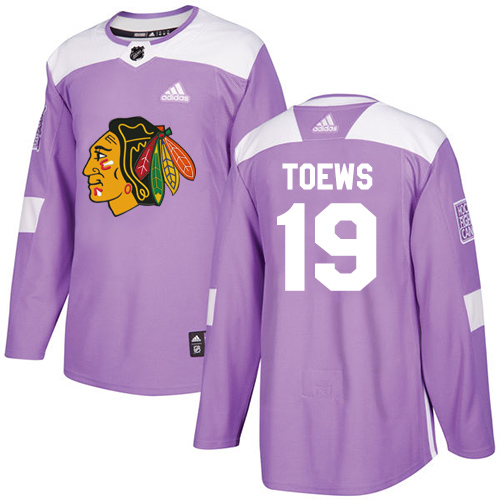 Adidas Blackhawks #19 Jonathan Toews Purple Authentic Fights Cancer Stitched NHL Jersey