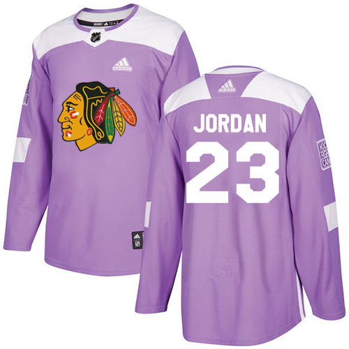Adidas Blackhawks #23 Michael Jordan Purple Authentic Fights Cancer Stitched NHL Jersey