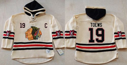 Blackhawks #19 Jonathan Toews Cream Heavyweight Pullover Hoodie Stitched NHL Jersey