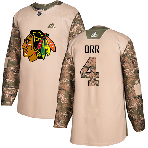 Adidas Blackhawks #4 Bobby Orr Camo Authentic Veterans Day Stitched NHL Jersey