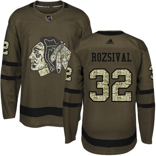Adidas Blackhawks #32 Michal Rozsival Green Salute to Service Stitched NHL Jersey