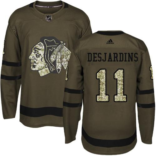 Adidas Blackhawks #11 Andrew Desjardins Green Salute to Service Stitched NHL Jersey