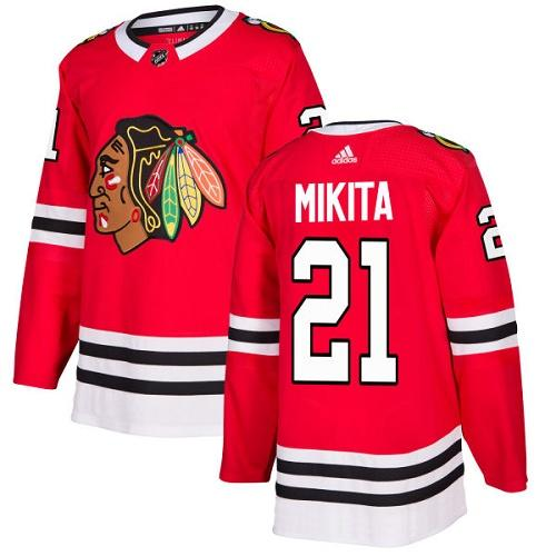 Adidas Blackhawks #21 Stan Mikita Red Home Authentic Stitched NHL Jersey
