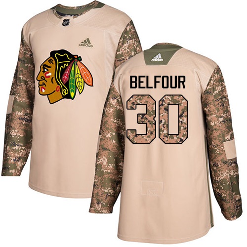 Adidas Blackhawks #30 ED Belfour Camo Authentic Veterans Day Stitched NHL Jersey