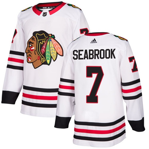Adidas Blackhawks #7 Brent Seabrook White Road Authentic Stitched NHL Jersey