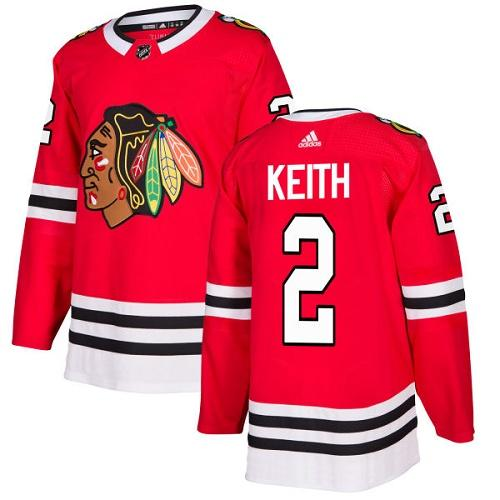 Adidas Blackhawks #2 Duncan Keith Red Home Authentic Stitched NHL Jersey