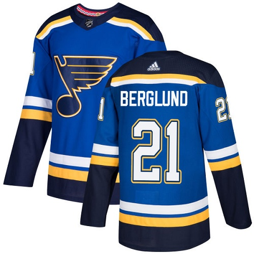 Adidas Blues #21 Patrik Berglund Blue Home Authentic Stitched NHL Jersey