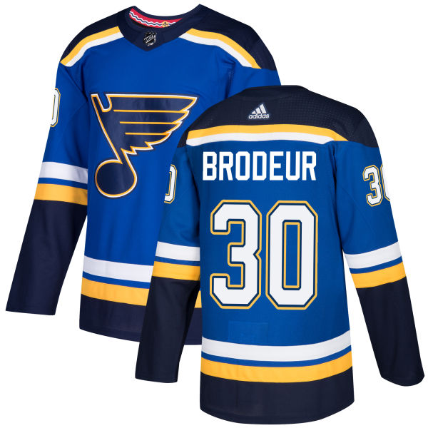 Adidas Blues #30 Martin Brodeur Blue Home Authentic Stitched NHL Jersey