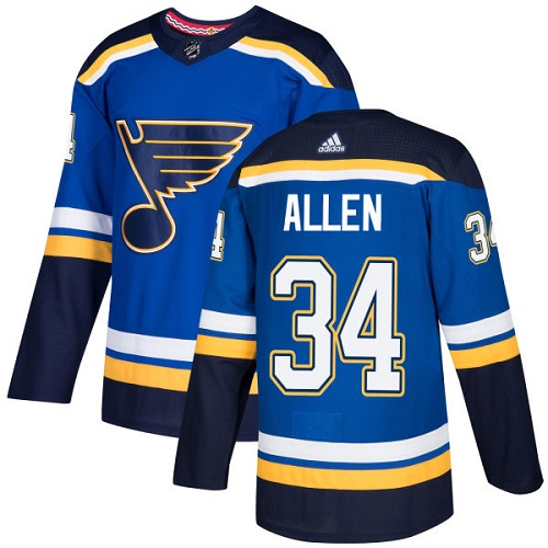 Adidas Blues #34 Jake Allen Blue Home Authentic Stitched NHL Jersey