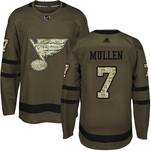 Adidas Blues #7 Joe Mullen Green Salute to Service Stitched NHL Jersey