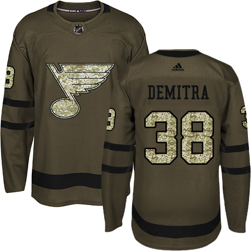 Adidas Blues #38 Pavol Demitra Green Salute to Service Stitched NHL Jersey