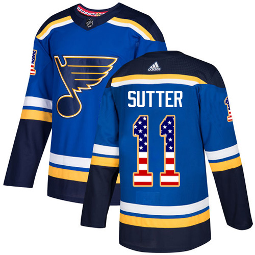 Adidas Blues #11 Brian Sutter Blue Home Authentic USA Flag Stitched NHL Jersey