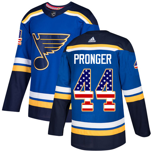 Adidas Blues #44 Chris Pronger Blue Home Authentic USA Flag Stitched NHL Jersey