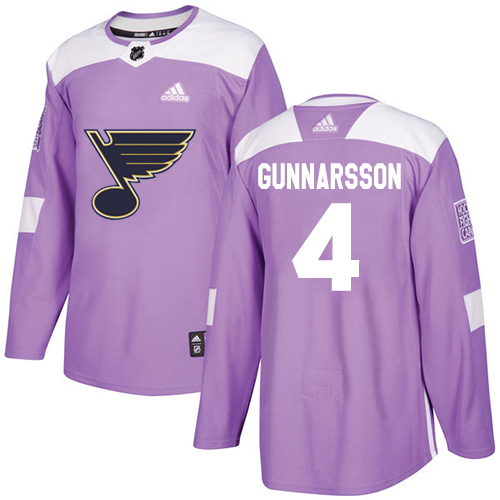 Adidas Blues #4 Carl Gunnarsson Purple Authentic Fights Cancer Stitched NHL Jersey