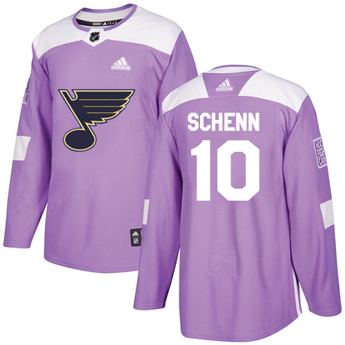 Adidas Blues #10 Brayden Schenn Purple Authentic Fights Cancer Stitched NHL Jersey