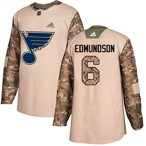 Adidas Blues #6 Joel Edmundson Camo Authentic Veterans Day Stitched NHL Jersey