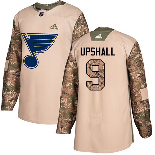 Adidas Blues #9 Scottie Upshall Camo Authentic Veterans Day Stitched NHL Jersey