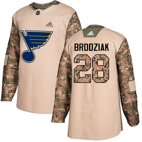 Adidas Blues #28 Kyle Brodziak Camo Authentic Veterans Day Stitched NHL Jersey