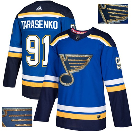 Adidas Blues #91 Vladimir Tarasenko Blue Home Authentic Fashion Gold Stitched NHL Jersey