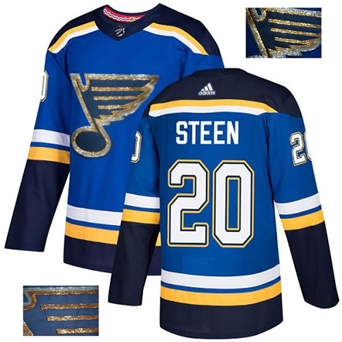 Adidas Blues #20 Alexander Steen Blue Home Authentic Fashion Gold Stitched NHL Jersey