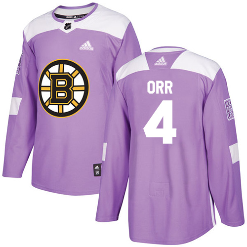 Adidas Bruins #4 Bobby Orr Purple Authentic Fights Cancer Stitched NHL Jersey