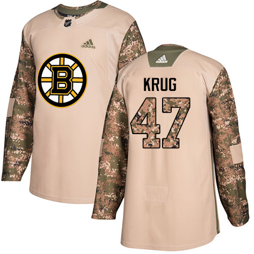 Adidas Bruins #47 Torey Krug Camo Authentic Veterans Day Stitched NHL Jersey