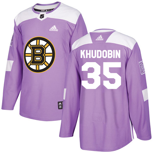 Adidas Bruins #35 Anton Khudobin Purple Authentic Fights Cancer Stitched NHL Jersey