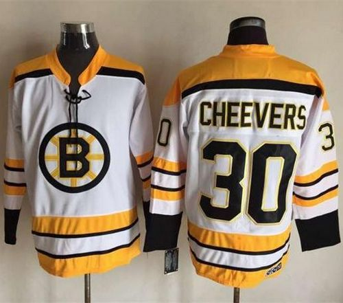 Bruins #30 Gerry Cheevers White CCM Throwback Stitched NHL Jersey