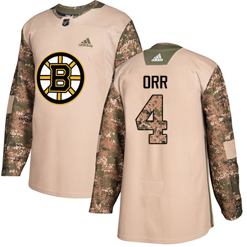 Adidas Bruins #4 Bobby Orr Camo Authentic Veterans Day Stitched NHL Jersey