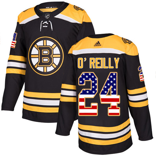 Adidas Bruins #24 Terry O'Reilly Black Home Authentic USA Flag Stitched NHL Jersey