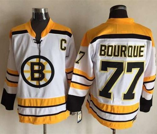CCM Throwback Bruins #77 Ray Bourque White Stitched NHL Jersey