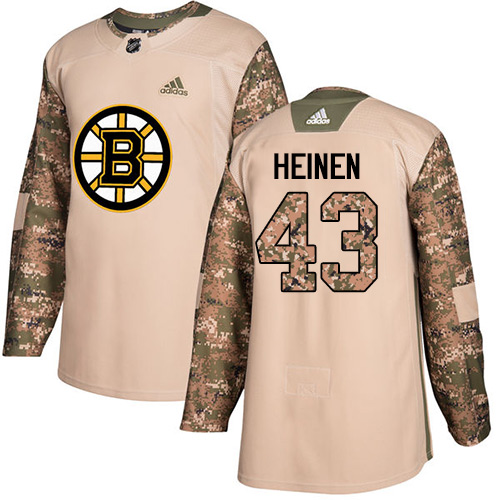 Adidas Bruins #43 Danton Heinen Camo Authentic Veterans Day Stitched NHL Jersey