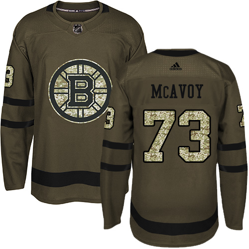 Adidas Bruins #73 Charlie McAvoy Green Salute to Service Stitched NHL Jersey