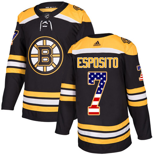 Adidas Bruins #7 Phil Esposito Black Home Authentic USA Flag Stitched NHL Jersey